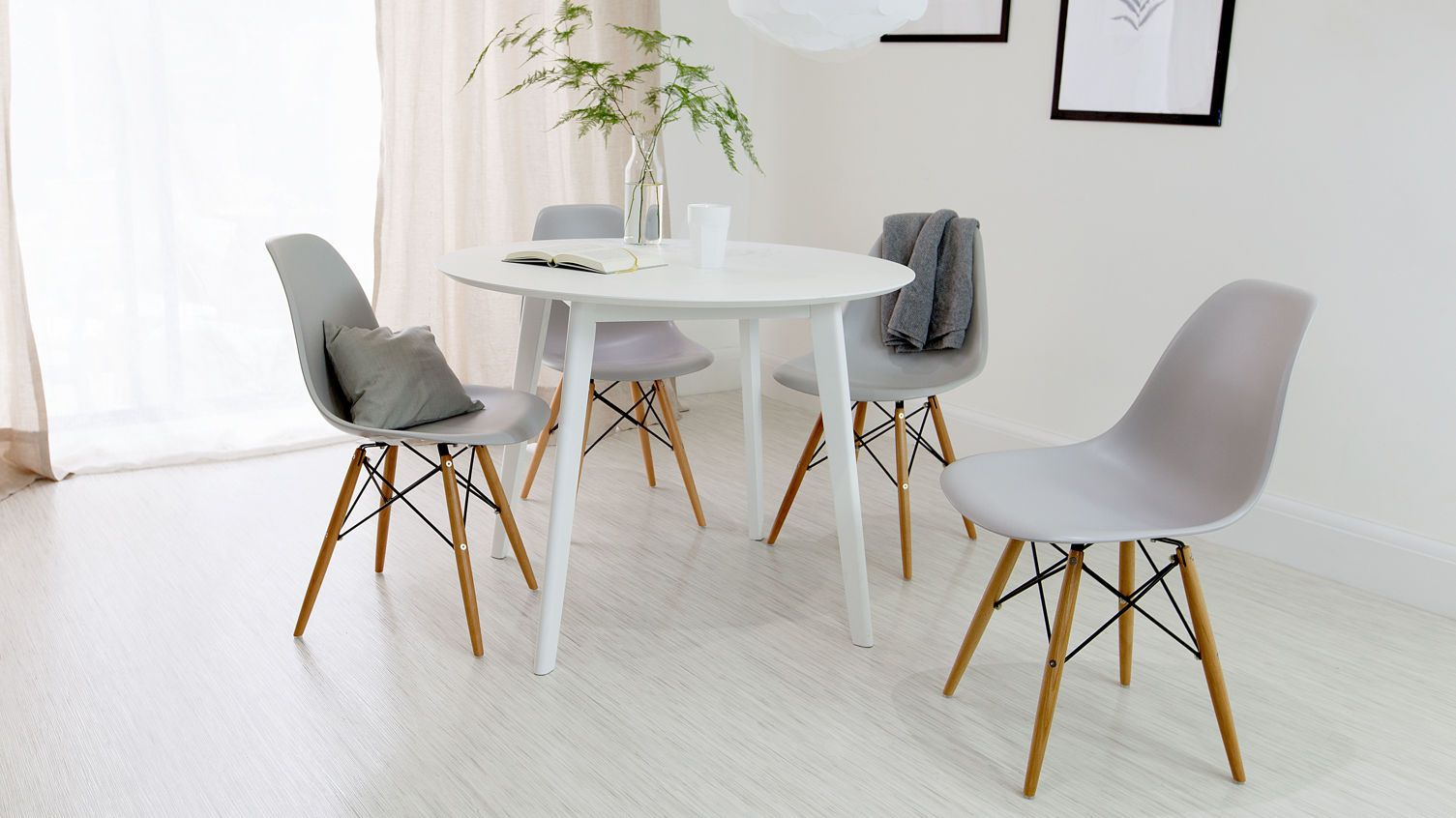 ece33261fd89 White Dining Table and Grey Eames Chairs 1m diameter