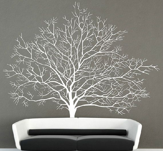 63fac1fc8e22 Large tree wall decal vinyl winter tree wall by Walldecorative ...