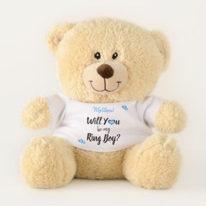 Will You be my Ring Boy Teddy Bear - home gifts ideas decor special unique custom individual customized individualized