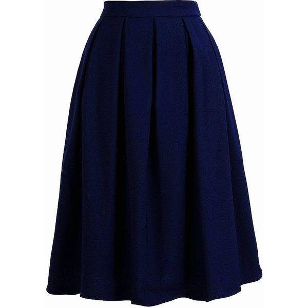 1c01c9567e Navy Blue Skirt~Knee Length Navy Skirt~Knife Pleated Navy Blue Skirt...  ($32) ❤ liked on Polyvore featuring skirts, bottoms, dark olive, women's  clothing, ...