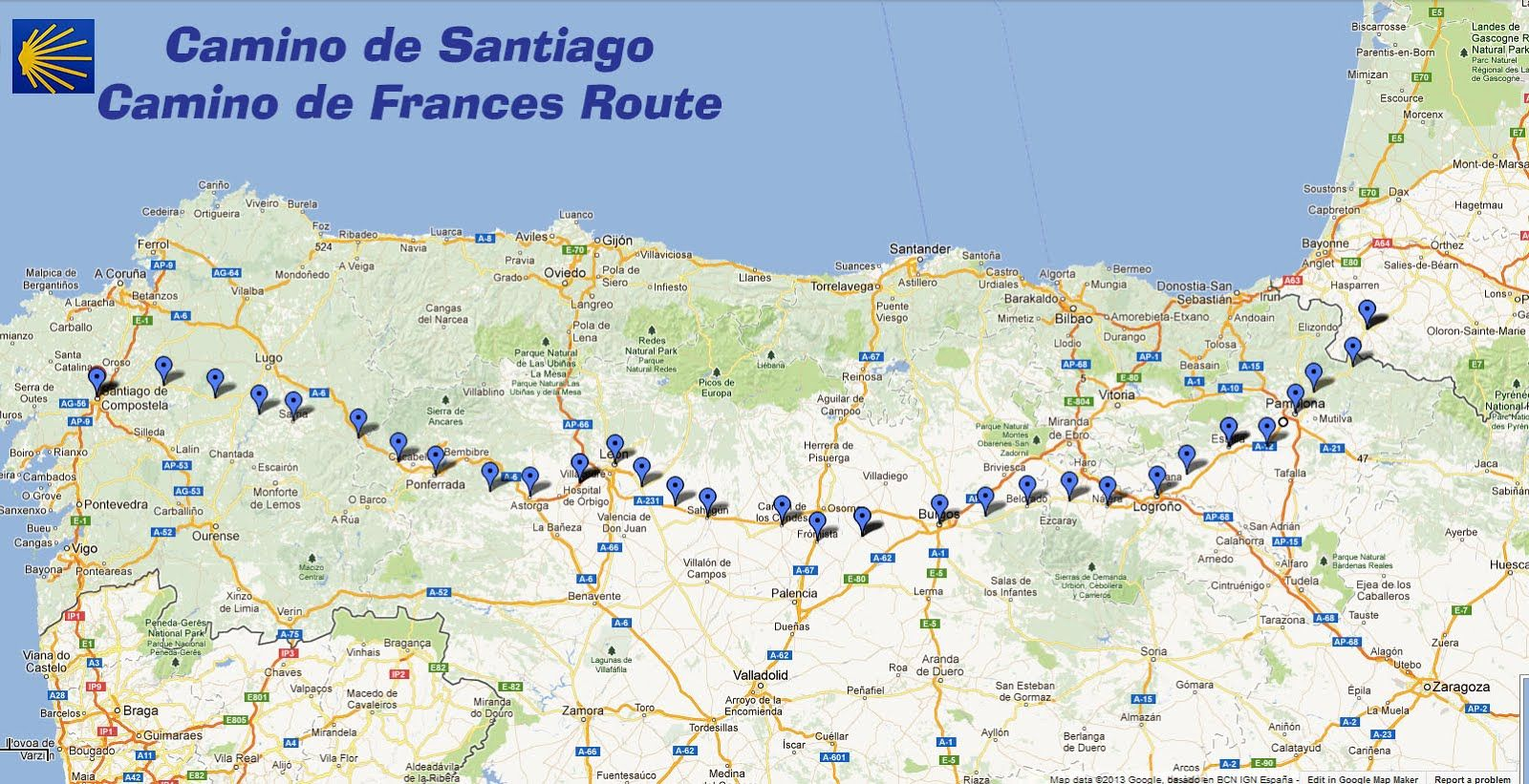 Trekcapri's Blog: Camino de Santiago: Buen Camino Great map of ... on