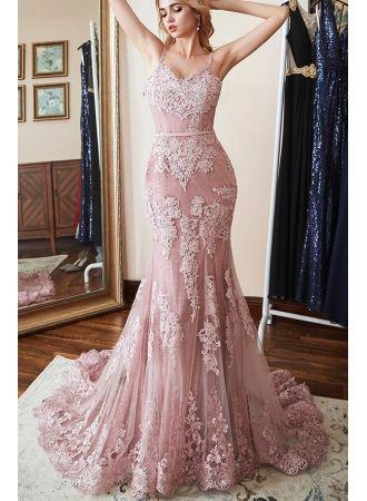 rosa abendkleider lang spitze  abendmoden günstig online modellnummer xy481  abendkleid