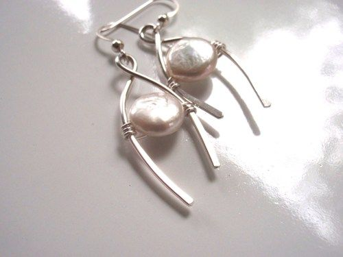 Handmade Silver Wishbone Earrings with White Pearls | GildedOwlJewelry - Jewelry on ArtFire