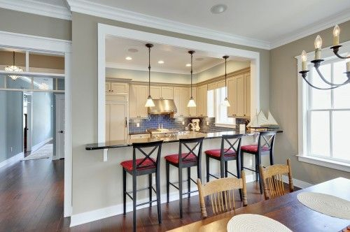 Open Area Between Kitchen Dining Room With Bar Seating Home