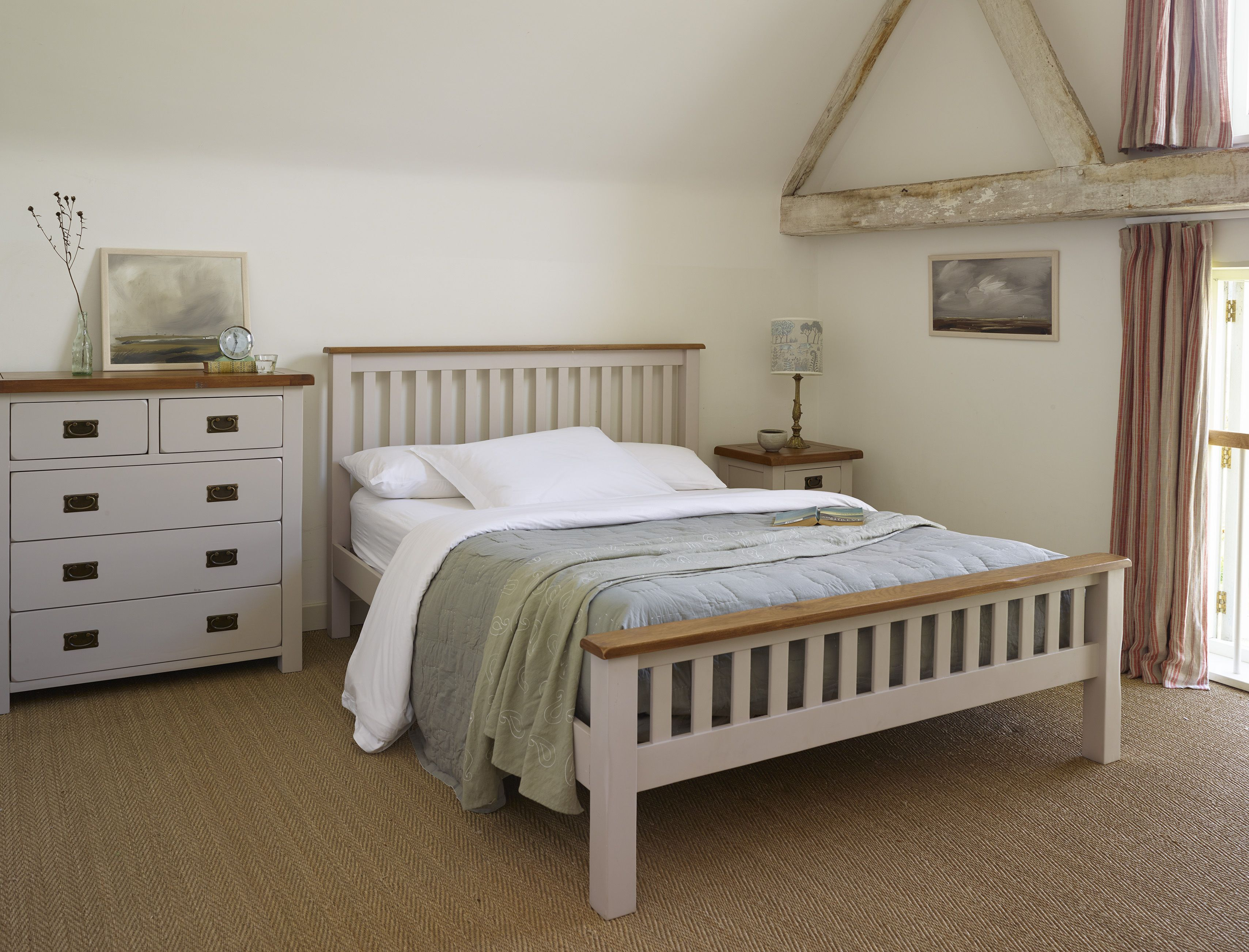 White bedroom furniture with oak tops