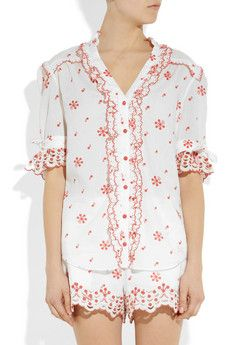 ALICE by Temperley  Poppy printed and embroidered cotton blouse