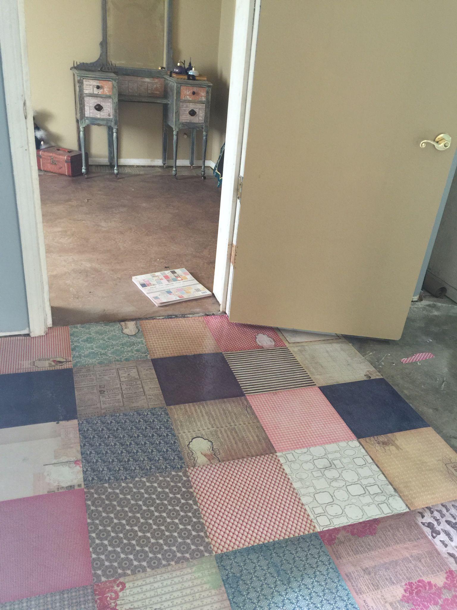 Scrapbook Paper Floor In Our Studio Entryway Diy Flooring Flooring Craft Room