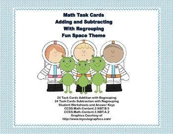 This package offers two sets of task cards with 24 cards in each set. This is great practice for addition and subtraction with regrouping. The collection contains the following:  Set 1 has 24 problems of addition with regrouping  Set 2 has 24 problems of subtraction with regrouping  There is a student answer sheet for each set and an answer key for each.