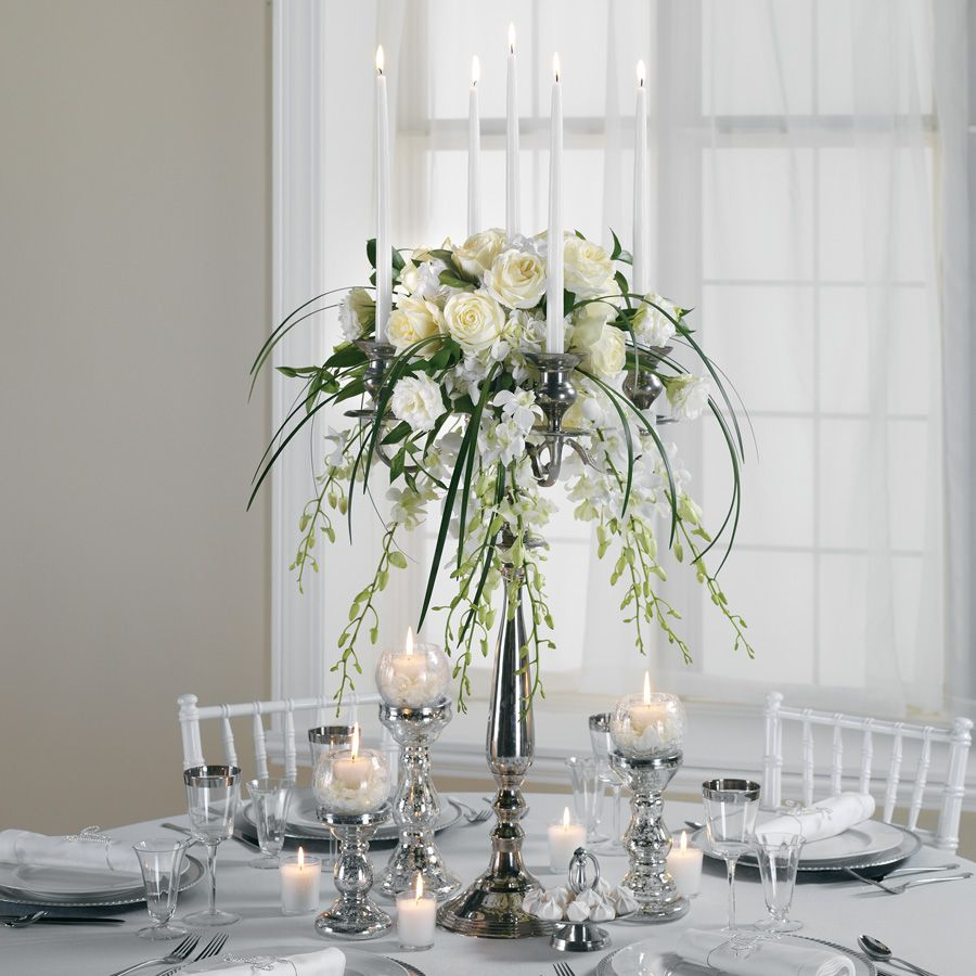 Silver, tall, elegant and with tapers | Wedding Flower Ideas - White ...