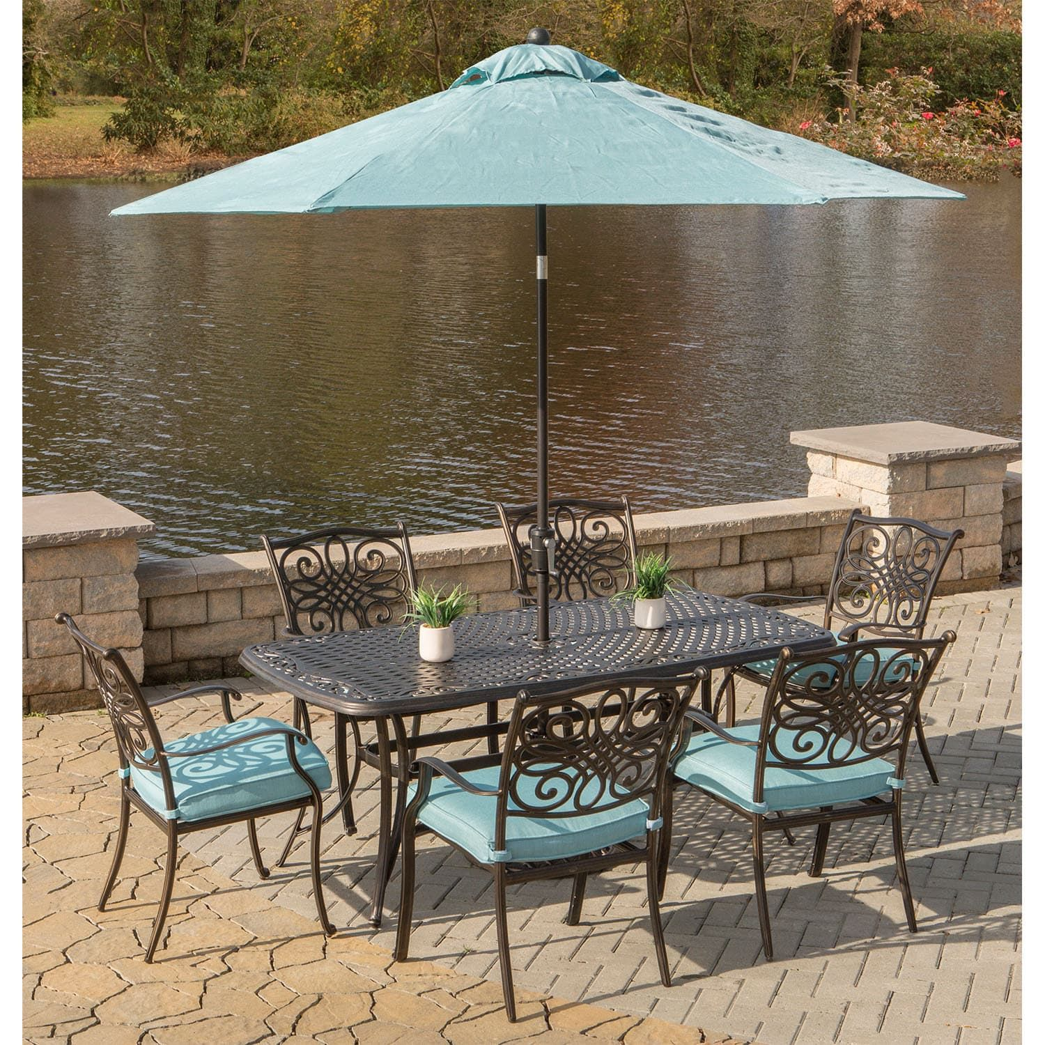 9 foot dining table. Hanover Traditions 7-Piece Dining Set In With Cast-Top Table, 9 Ft. Table Umbrella, And Umbrella Stand , Patio Furniture Foot I