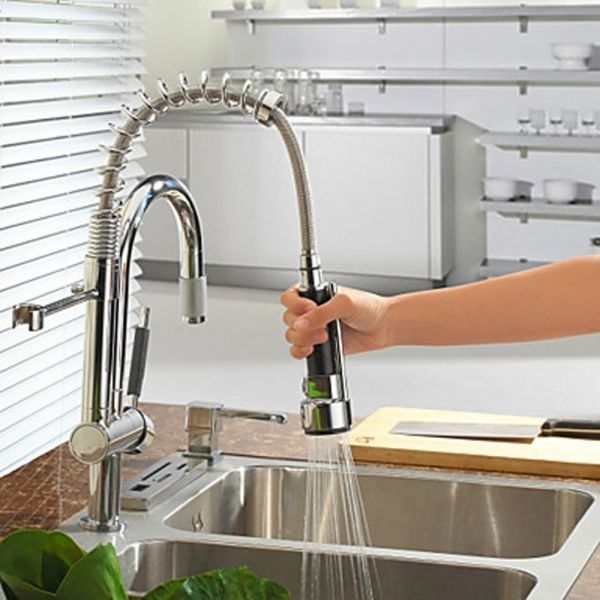 Want. Solid Brass Brushed Finish High Pressure Pull-down Spring ...