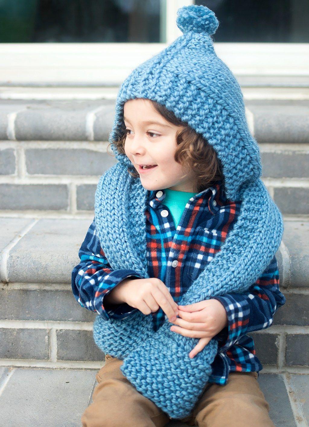 Kid S Hooded Scarf Knitting Pattern Knitting Knitting Patterns