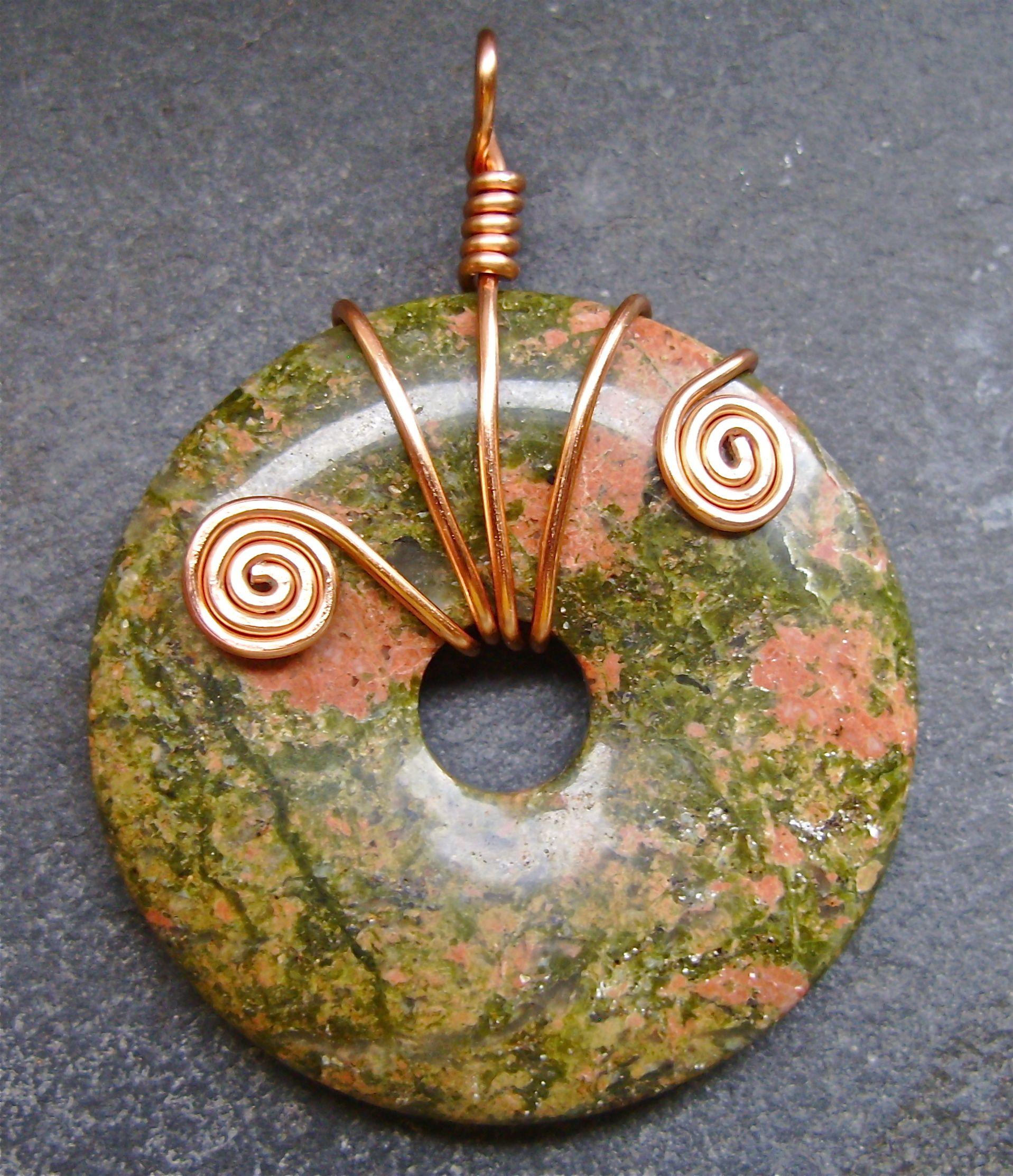 Unachite stone with copper wire wrapping