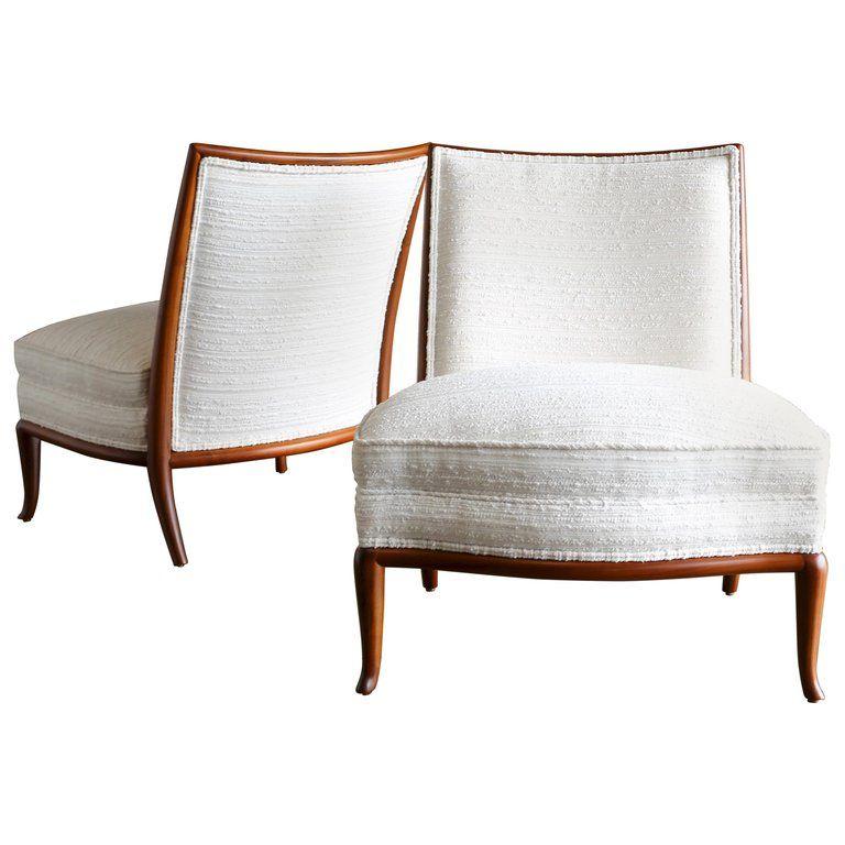 Tremendous Rare Slipper Chairs By T H Robsjohn Gibbings 1St Dibs Theyellowbook Wood Chair Design Ideas Theyellowbookinfo