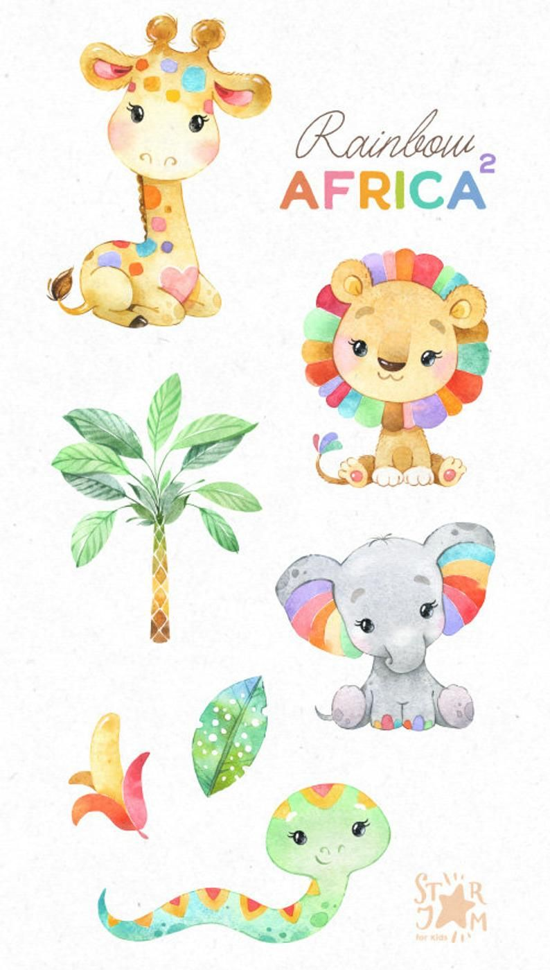 Rainbow Africa 2 Watercolor Animals Clipart Elephant Giraffe Lion Snake Colors Greeting Invite Safari Leaves Baby Baby Shower In 2021 Watercolor Animals Animal Clipart Clip Art