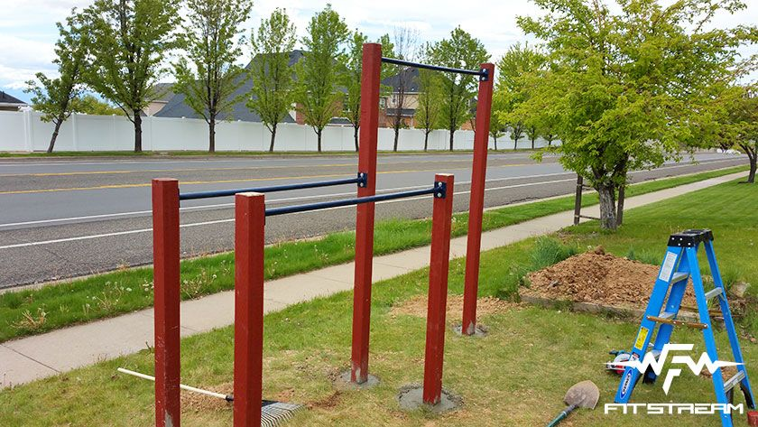 How to make an outdoor pull up bar and parallel bars for Cost of building a gym