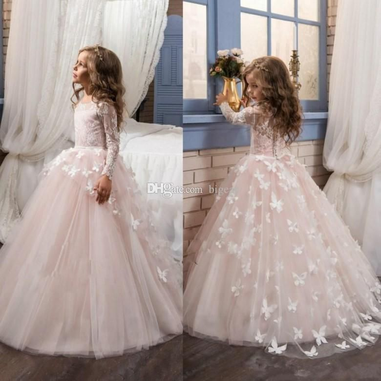 c56537d243  50.26 Round Neck Long Sleeves Flower Girl Dress With Butterflies Little  Girls Bridesmaid Dresses Little Girls White Dresses