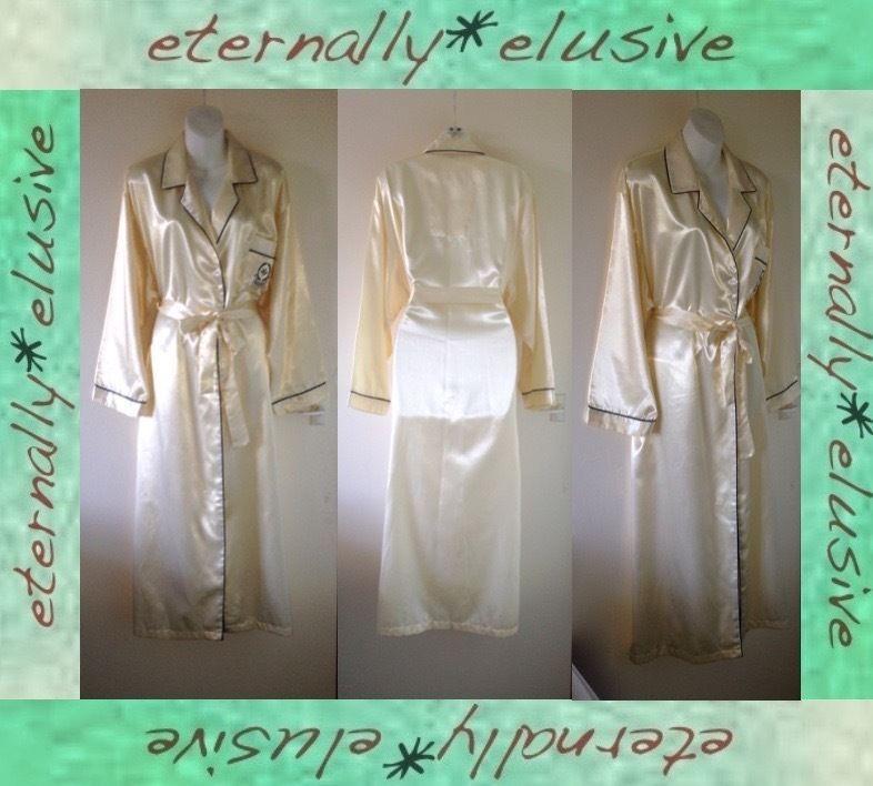 VTG Long Glossy Liquid Satin Wet Look Dressing Gown Robe Women ...