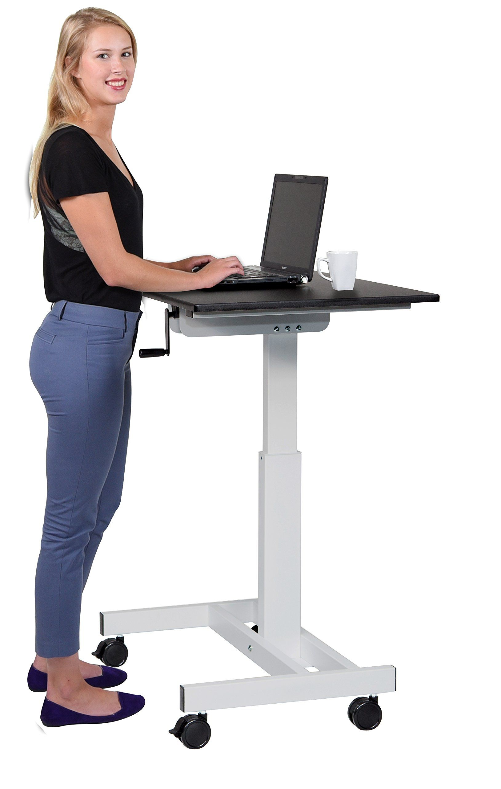 crank frame itm adjustable black vivo workstation standing up system ergonomic desk stand manual leg height