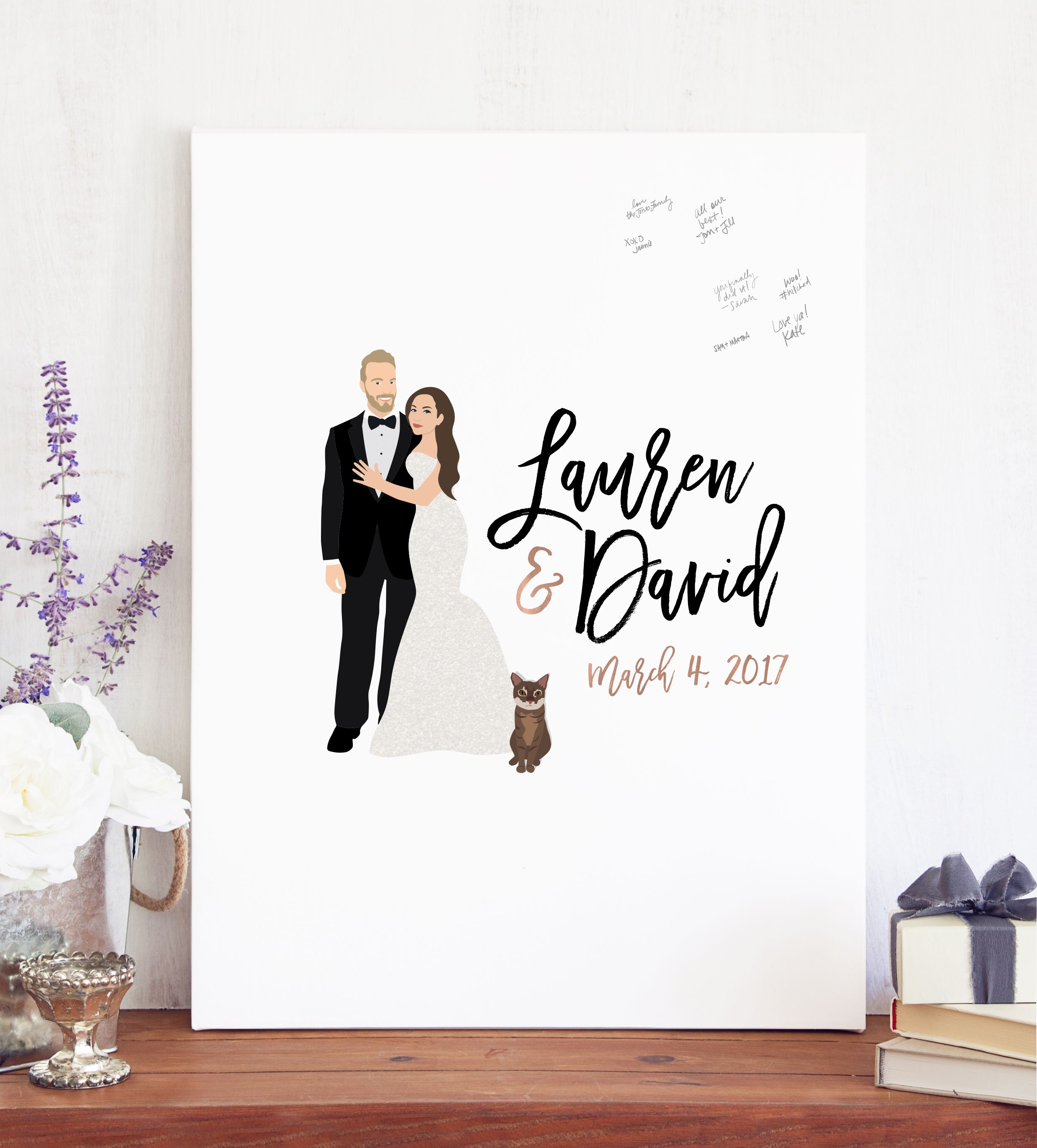 Wedding Portrait Guest Book Alternative Print With Couple Illustration As An To The Traditional