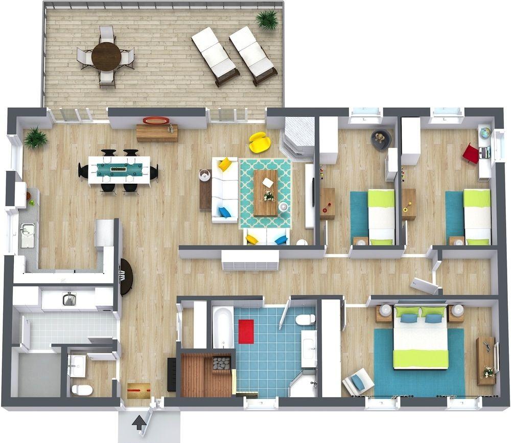 Floor Plans For 3 Bedroom Apartments  Sourabh  Pinterest Captivating 3 Bedroom Apartment Design Decorating Inspiration