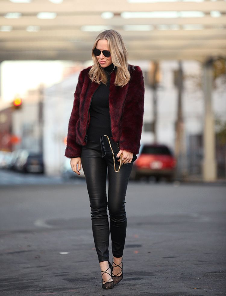 a0d4baca4e Go wild in a faux fur jacket this fall! Helena Glazer looks ultra stylish  in this crimson coat from Express Edition  try wearing a fluffy coat with  leather ...