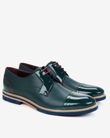 5183aa88f8d3d6 Textured leather derby shoes - Green