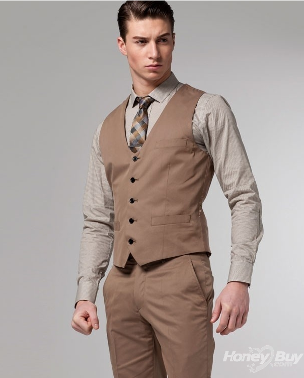 Stylish Custom Made Suits Men Inexpensive New Arrival Brown Vest ...