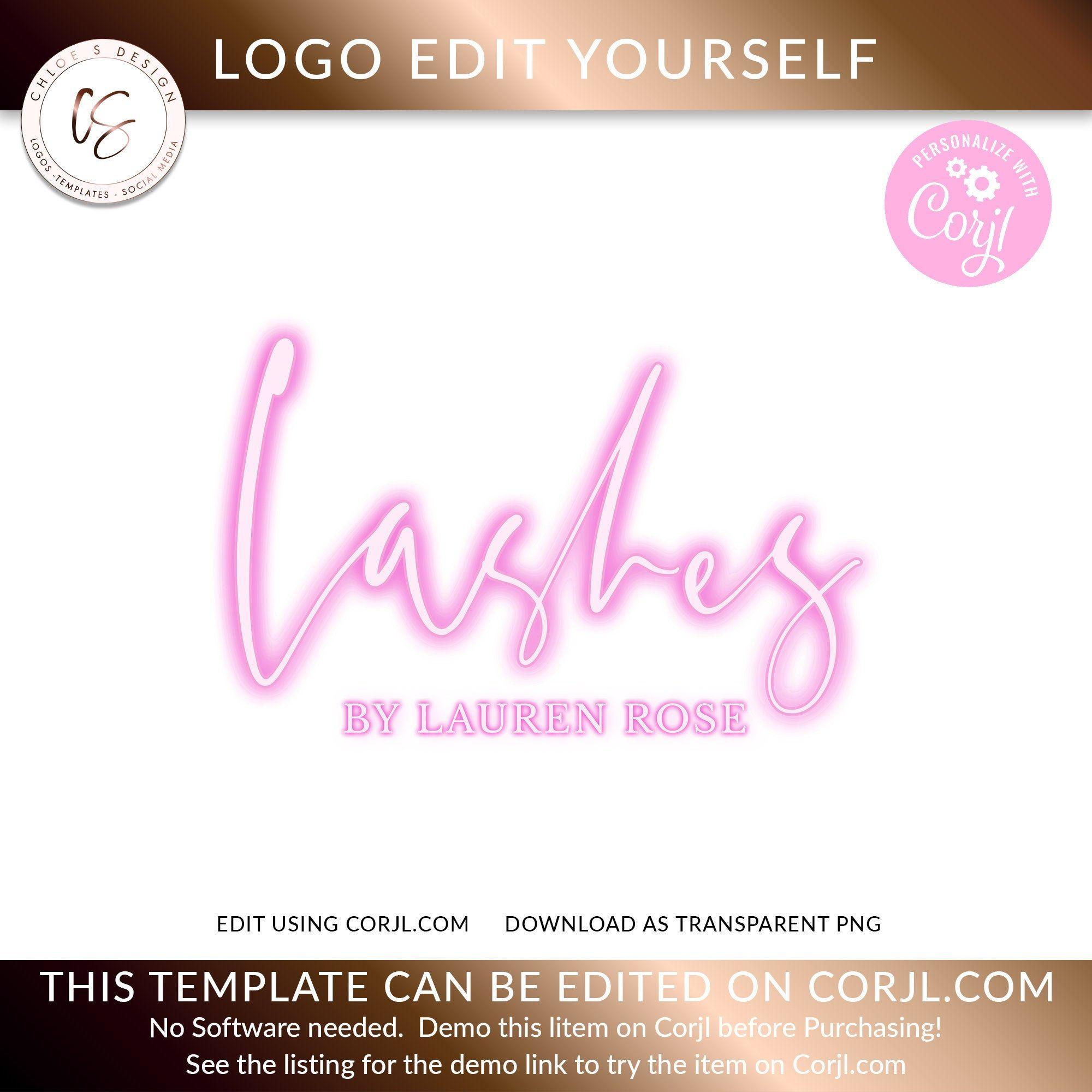Neon Pink Logo, Neon Logo design, Salon Logo, Beauty Logo