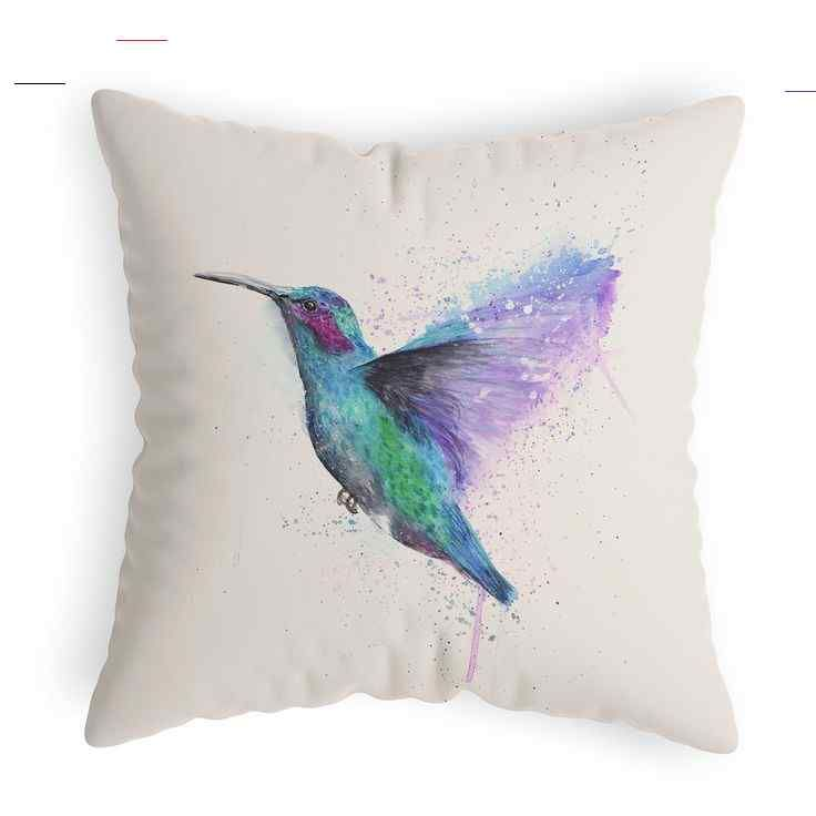 Hummingbird Cushion Cover - Colour Splash Hummingbird | JoanneRowlandArt Hummingbird Cushion Cover - Colour Splash Hummingbird #cushioncover #hummingbird #coloursplash #colorsplash #wildlifegifts #homedecor #throwpillow #wildlifeartist<br>