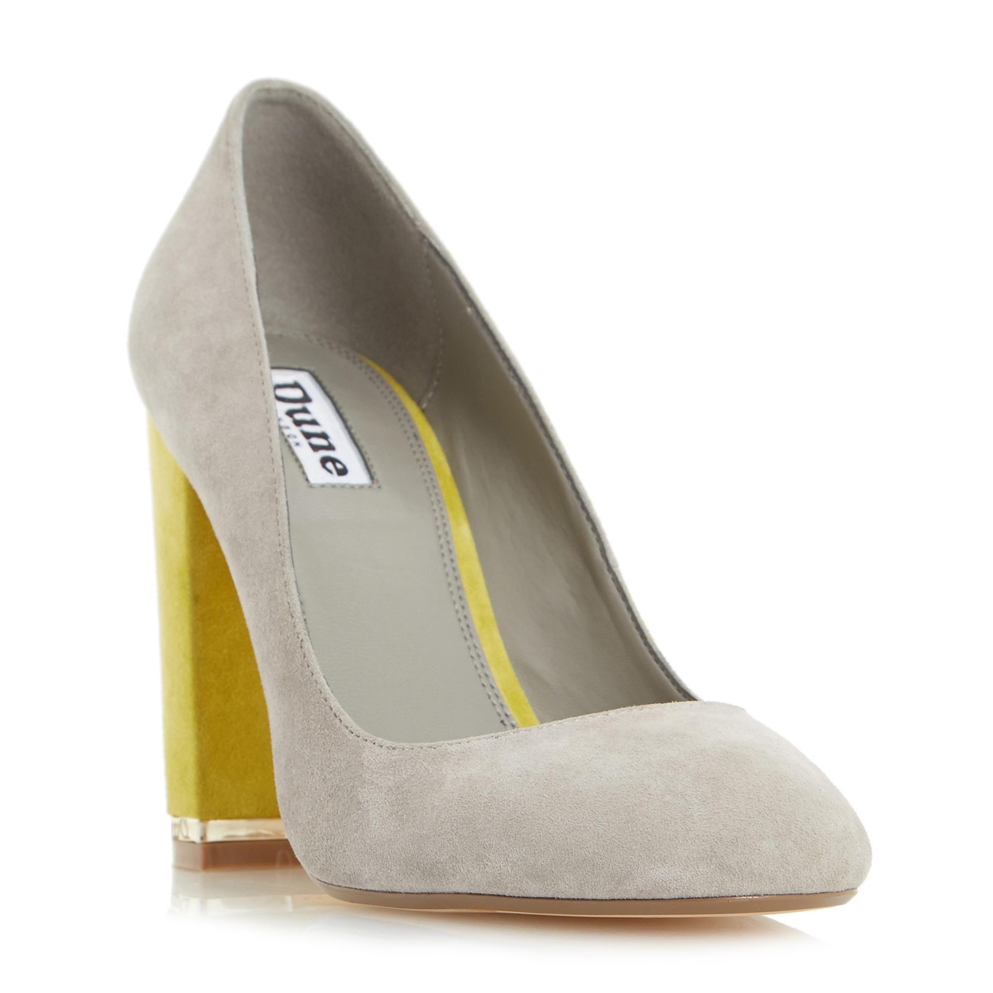 DUNE LADIES ADRIANE - Block Heel Almond Toe Court Shoe - grey ...
