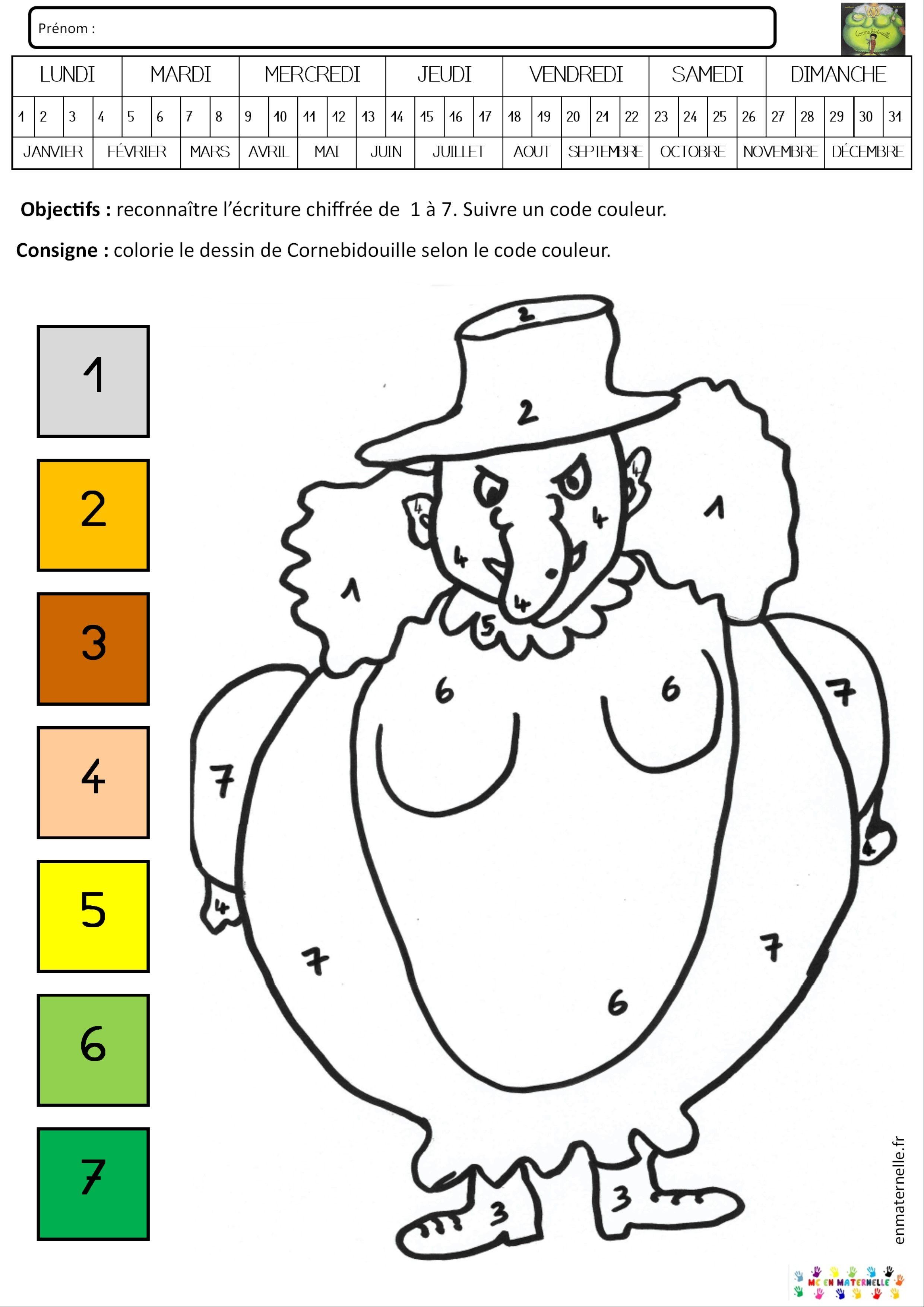 Cornebidouille coloriage magique de 1 à 7 Coloriage