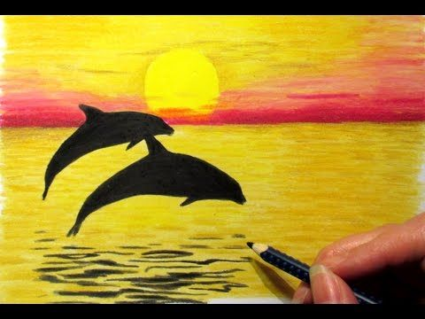 Landscape In Colored Pencil Sunset And 2 Dolphins Drawing Jasmina Susak Youtube Colorful Drawings Dolphin Drawing Nature Drawing