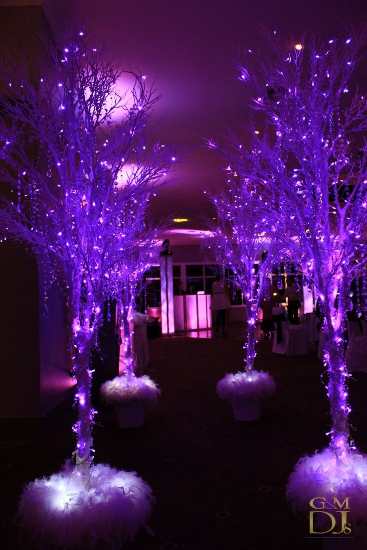 Purple and blue wedding decor  I think if it were like a white and light blue or gold itud be