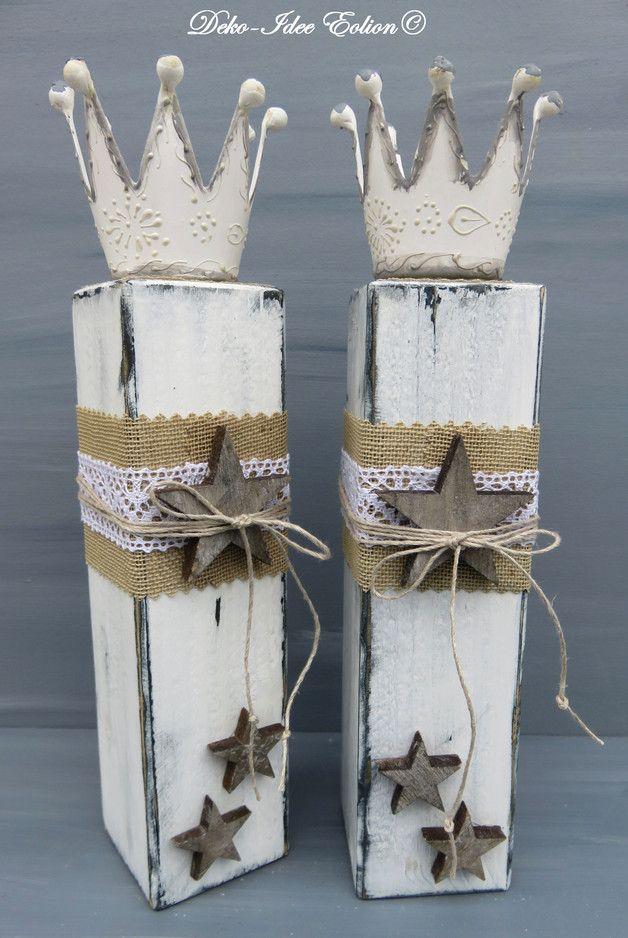 Weihnachtsdeko - Kerzenständer Set ShabbyShabby-Leuchter-Sterne - ein Designerstück von Deko-Idee-Eolion bei DaWanda #dekohauseingang