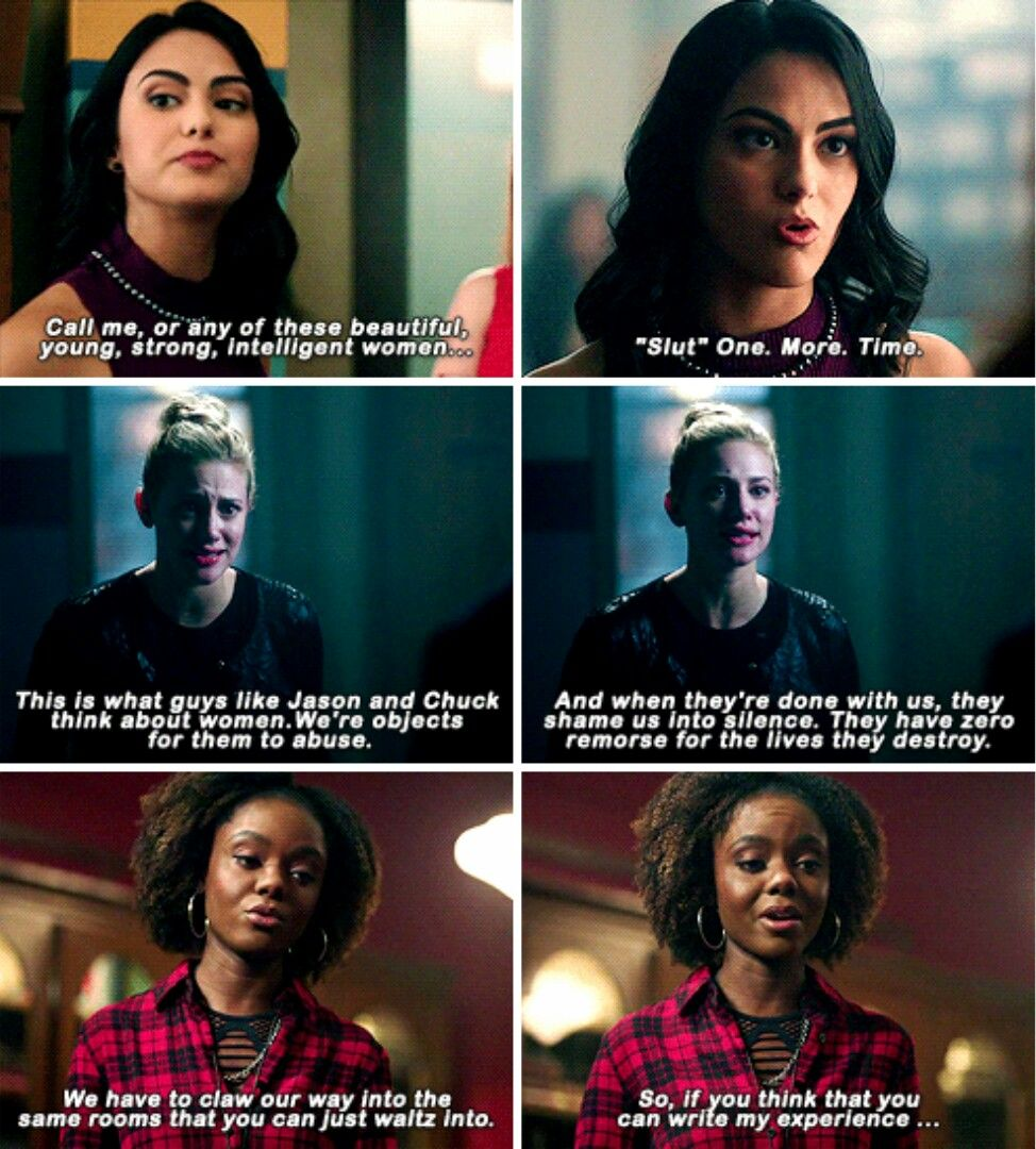 """""""No, Kevin, it's a slut-shaming thing. And I'm neither a slut, nor am I going to be shamed by someone named, excause me, Chuck Clayton."""" #Riverdale #Season1 #1x03"""