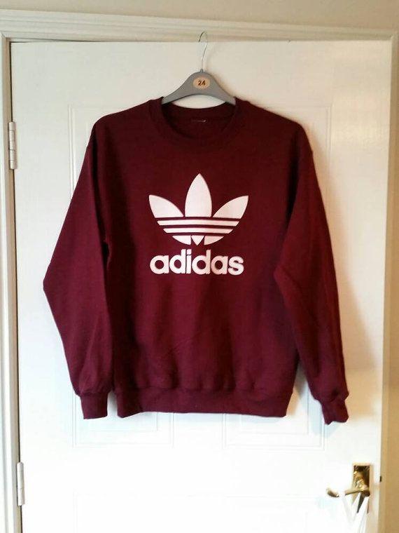 Unisex customised adidas sweatshirt t shirt grunge festival fashion ... 8fe4b91fb53