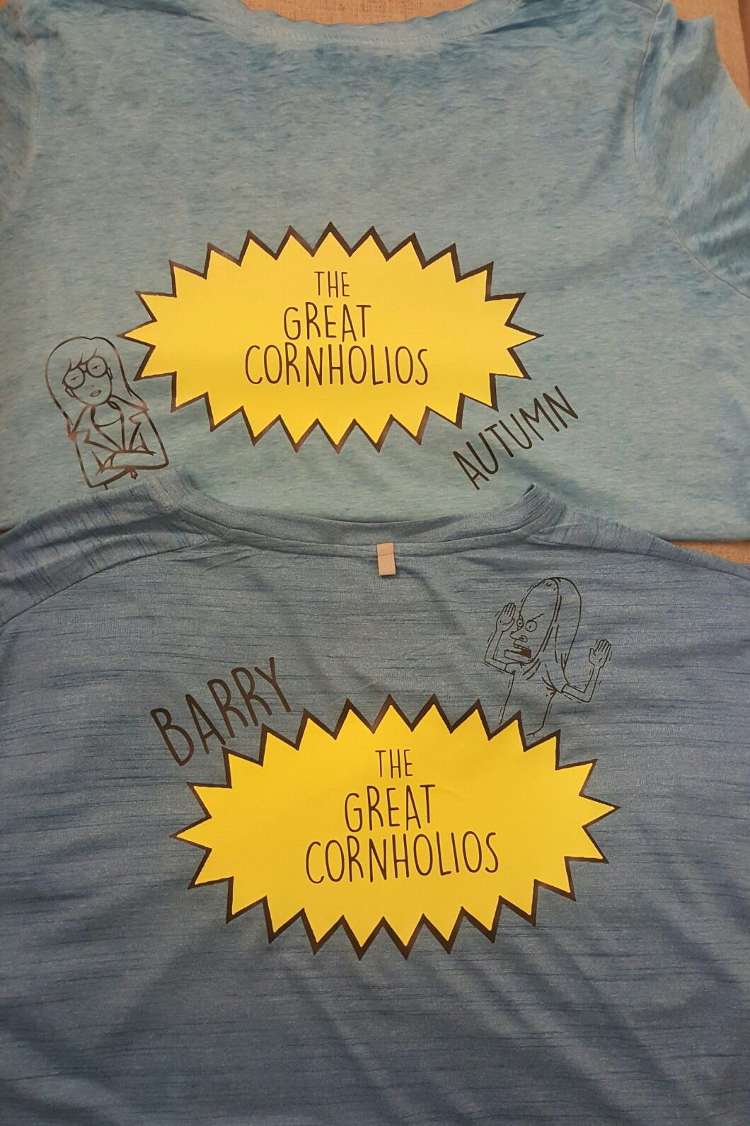 6d1bd82b7d89 Team/Couples shirts for an upcoming Cornhole tournament. We're The Great  Cornholios. I used my Silhouette Cameo to cut HTV and my heat press to  apply it.