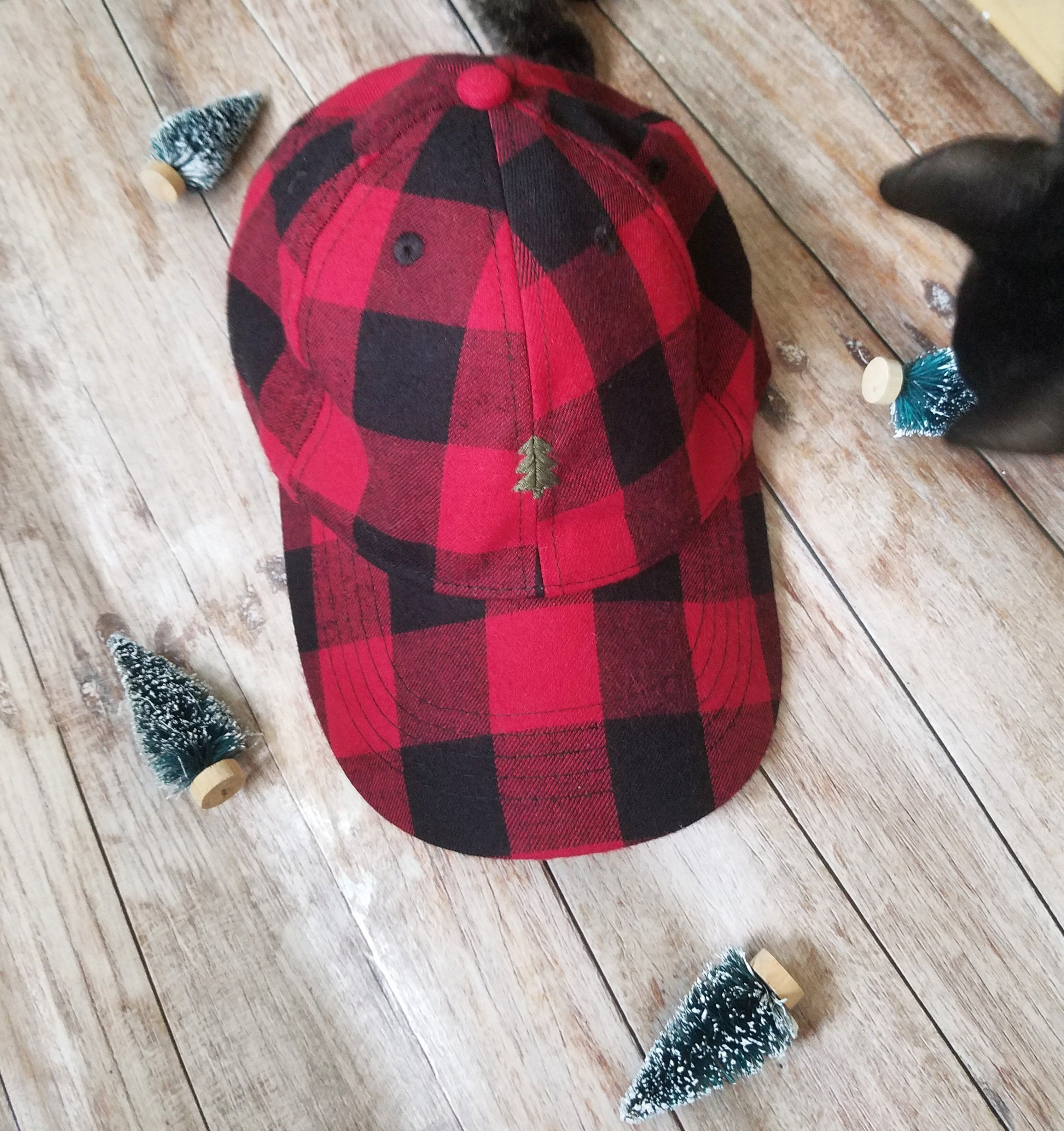 45ce7d3c148 Buffalo Plaid wool embroidered dad hat   cap   Christmas tree hat ...