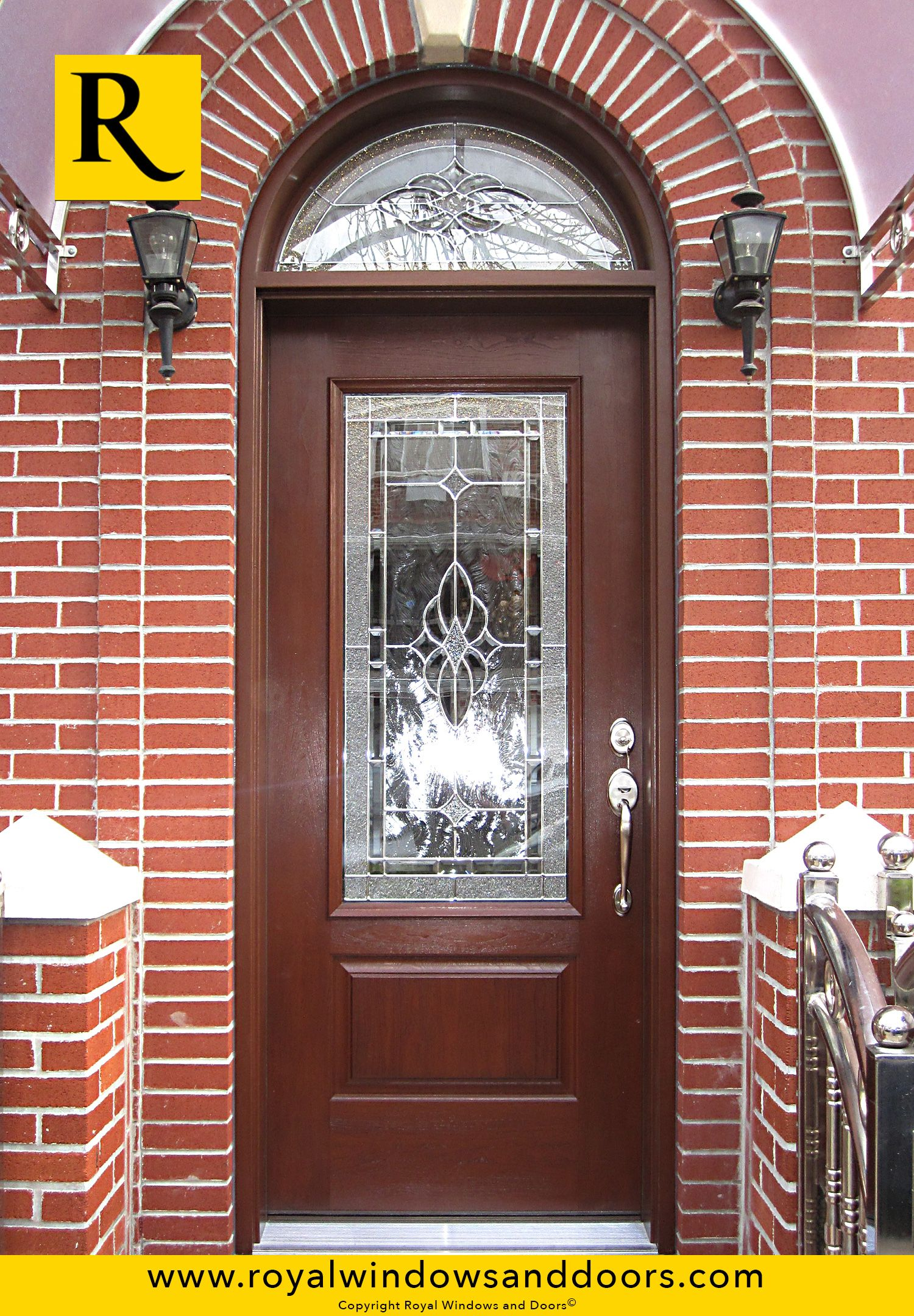 Single Entry Doors With Glass single entry door, wood finish, circle top, designer glass   royal