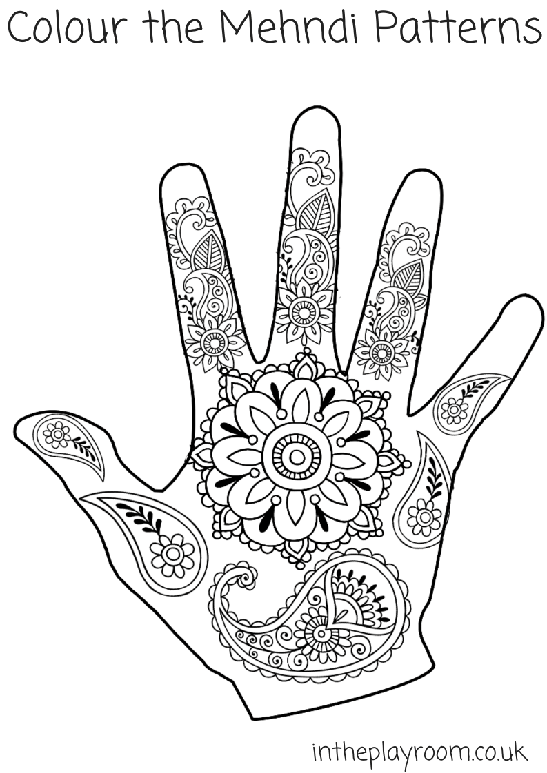 mehndi hand colouring pages - Mehndi Patterns Colouring Sheets