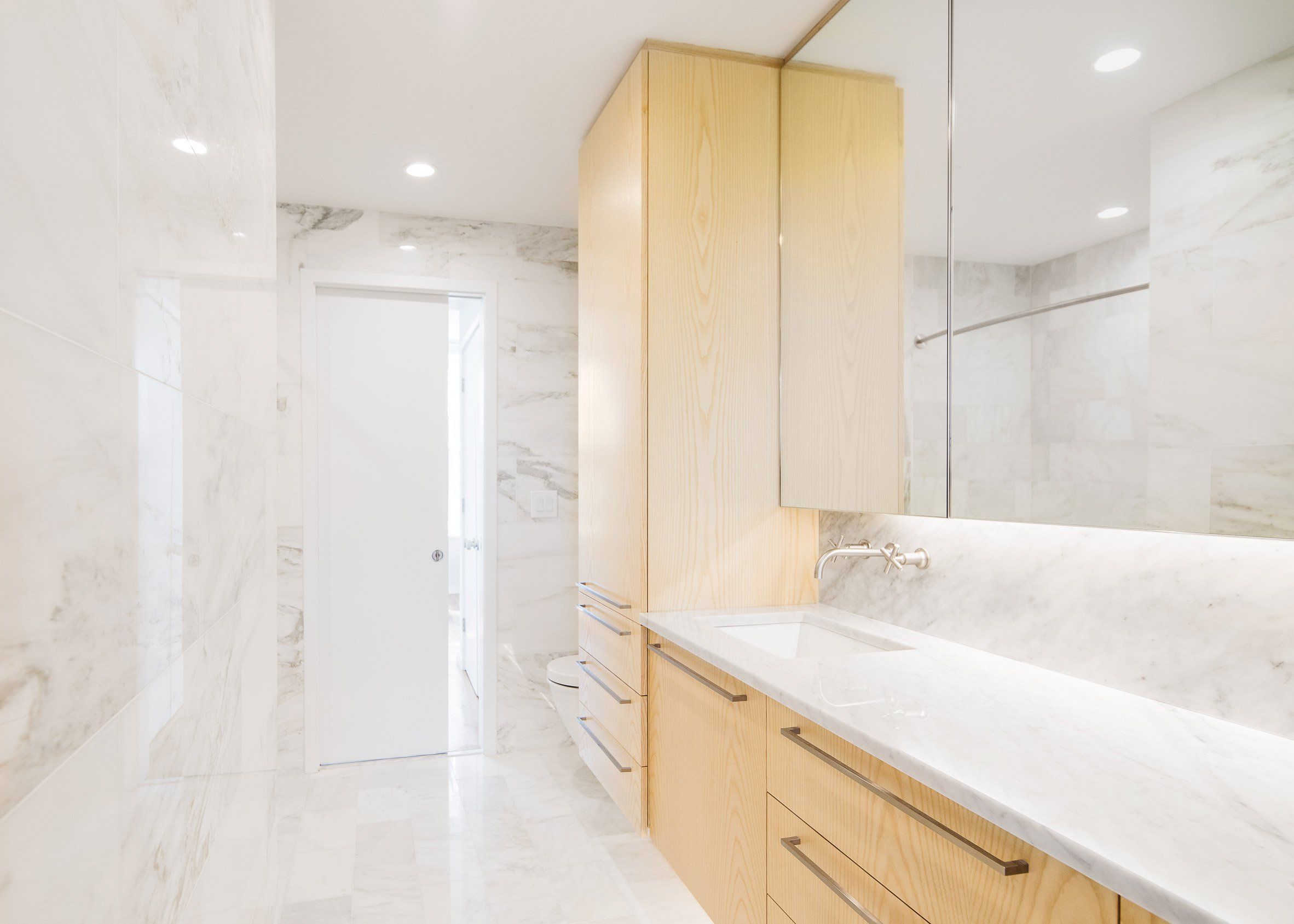 Bathroom Renovation Jersey City jeff jordan pairs white marble and pale pine in jersey city house