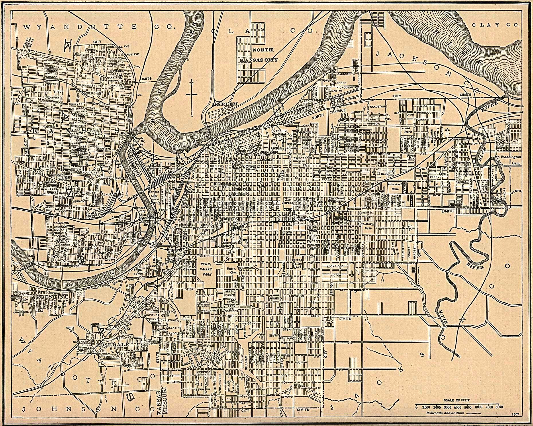 Kansas City Map Kansas And Missouri 1907 Kansas City Map