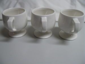 3 Vintage 60s POP MOD MCM Footed Thick White Ce