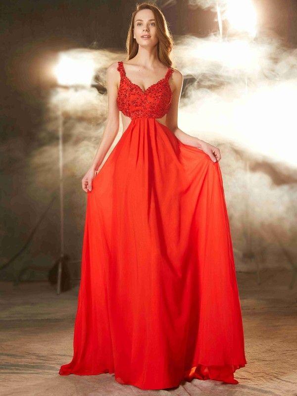 69d4f3cb2f18 A-Line Princess Straps Sleeveless Floor-Length Applique Chiffon Dresses -  Hebeos.com - Pure red
