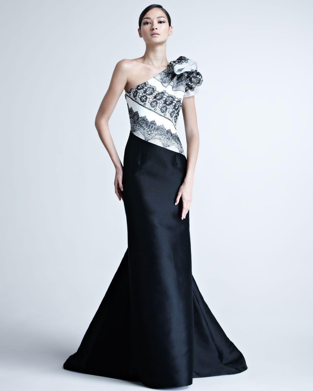 Oneshoulder gown with striped bodice carolina herrera formal
