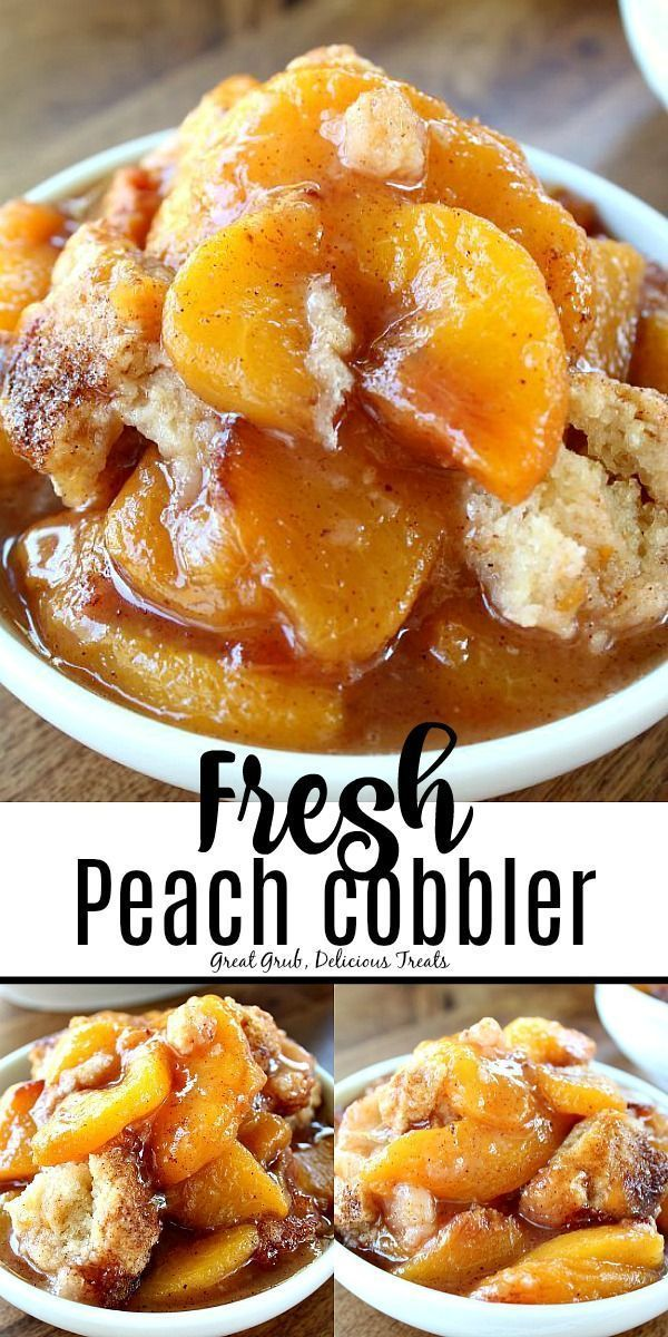 This made from scratch, Fresh Peach Cobbler is packed full of fresh, juicy, ripe peaches then topped with a delicious cake-like, crunchy topping. #peachcobbler #peaches #cobbler #delicious #greatgrubdelicioustreats #peachcobblercheesecake