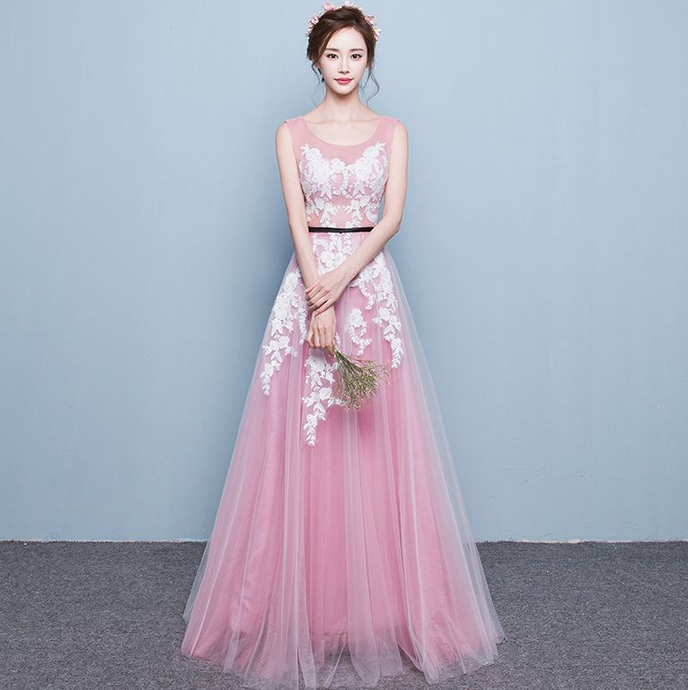 Pink Jewel Sheer Neck Land And Tulle Long Evening Dresses Designers