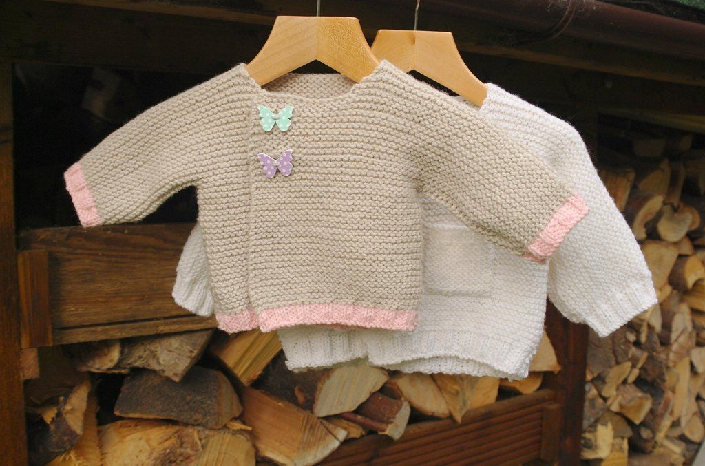 Easy asymmetric baby cardigan - one piece knit in DK ...