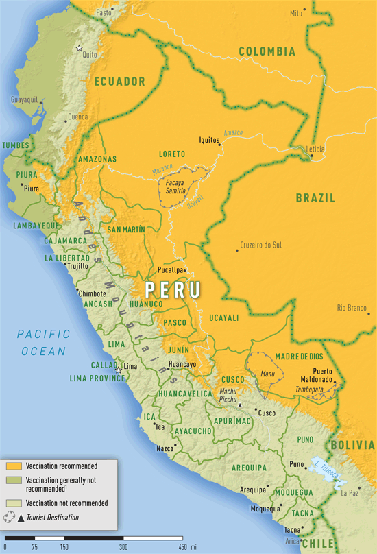 Map 3 39. Yellow fever vaccine recommendations in Peru | travel